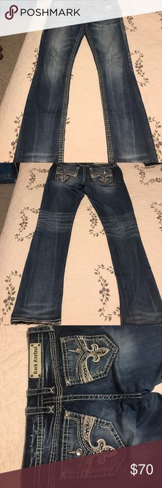 """Rock Revival jeans Rock Revival easy straight """"Yui"""" from Buckle. Very pretty pockets with faux flap. Rock Revival Jeans Straight Leg"""