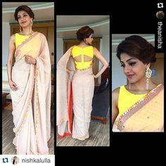 #Repost @nishkalulla with @repostapp. ・・・ @kajalaggarwalofficial looking super in a @neeta_lulla Saree and @suhanipittie earrings for the audio launch of her movie Paayum Puli today. #sofresh #sareelove #stylist #neetalulla #houseofneetalulla