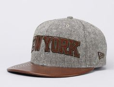 New York Knicks Leather Tweed 59Fifty Fitted Baseball Cap by NEW ERA x NBA