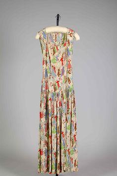 Novelty print silk evening dress, by Henri Bendel, American, 1940.