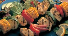 Grilled Chicken and Vegetable Kabobs Recipe... Exceptional flavors of seasoned chicken, onion, garlic, herbs and vegetables.
