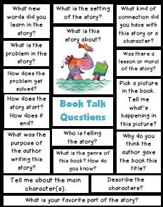 Teach Your Child to Read - Book Talk Questions. Many activities to use with books to get students talking about what they are reading. - Give Your Child a Head Start, and.Pave the Way for a Bright, Successful Future. Reading Strategies, Reading Skills, Teaching Reading, Reading Comprehension, Comprehension Strategies, Kindergarten Reading, Preschool Kindergarten, Reading Centers, Reading Workshop