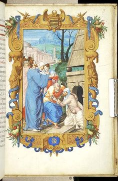 Sv. Marta ~ St. Martha; Vzkříšení Lazara; Kniha hodinek, 1550-1558, Francie, Paříž; The Morgan Library & Museum