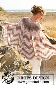 """Scheherazade - Knitted DROPS shawl with lace and zigzag pattern in """"Verdi"""". - Free pattern by DROPS Design Crochet Poncho, Knitted Shawls, Lace Knitting, Crochet Scarves, Knitting Patterns Free, Crochet Patterns, Motif Zigzag, Zig Zag Pattern, Free Pattern"""