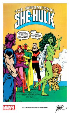 She-Hulk and the West Coast Avengers by John Byrne from the cover of Marvel Age #70 (1988) remastered by The Marvel Project.