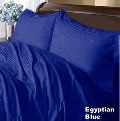 1000TC Egyptian Cotton Egyptian Blue Stripe Duvet Quilt Cover Set 3pc - Available in All Size