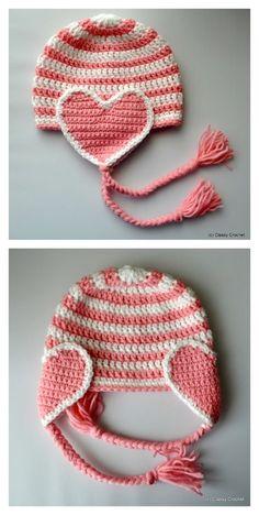 Crochet Valentine Heart Earflap Hat Free Pattern