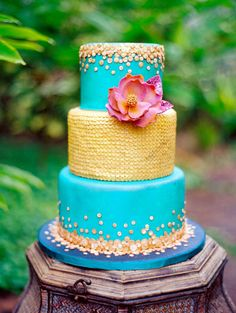 3-tier aqua and gold Moroccan themed, sequin wedding cake By A Cake Life - www.acakelife.com