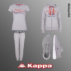 Grey in Grey. Check this out: www.kappa-shop.de/damen  (ZOFIA, Shirt. ZIENNA, Sweatjacke. WINNIE, Sweathose. SOL, Unisex Sneaker.)