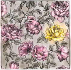 Wiese blumen hand floralen elementen gezeichnet schwarze for Schwarze mustertapete