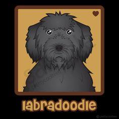 Black Labradoodle Cartoon Heart Shirts