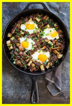 """This """"bacon burger & fries"""" Paleo breakfast bake combines bacon ground beef and crispy sweet potatoes with baked eggs. friendly good for any meal! Healthy Ground Beef, Ground Beef Recipes Easy, Beef Recipes For Dinner, Cooking Recipes, Healthy Recipes, Keto Recipes, Passover Recipes, Paleo Food, Healthy Meals"""