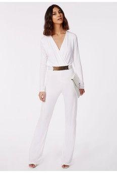 b0e7e1bf851 Deliana Long Sleeved Wrap Wide Leg Jumpsuit White White Jumpsuit Formal