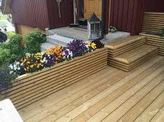 Bilderesultat for blomsterkasse Garden Seating, Terrace Garden, Patio Edging, Outdoor Living, Outdoor Decor, Modern Kitchen Design, Garden Furniture, Garden Design, Pergola