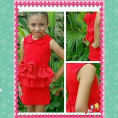Little Red dress for girls! Size 5 New, never used  Peplum style,  bow in the front,  stretchy material Dresses Casual