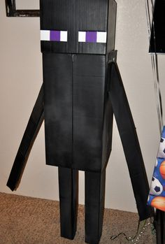 Enderman from minecraft made by my husband out of boxes for our sons Minecraft party & minecraft costumes kids | Minecraft Enderman Costume Head ...