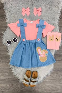 Denim Embroidered Bunny Suspender Skirt Set – Sparkle In Pink – Outfit Ideas for Girls Little Girl Outfits, Toddler Girl Outfits, Toddler Fashion, Cute Outfits For Kids, Baby Girl Dresses, Baby Girl Fashion, Baby Dress, Kids Fashion, Children Outfits