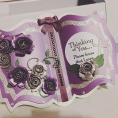 And it's done! Ready to send off. #handmade #handcrafted #purple #paperflowers #cardmaking #thinkingofyou