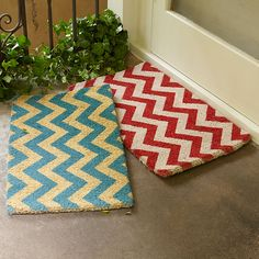 Wisteria - Holiday - Holiday Decor - Trim a Home -  Red Chevron Doormat - $34.00