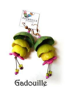 Boucles d'oreilles clochettes en cascade vertes