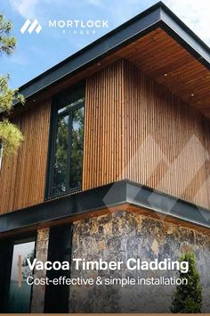 Vacoa is a sustainable Nordic pine material produced in Europe, modified by a thermal heat and steam process which increases durability. Interior Cladding, House Cladding, Stone Cladding, Timber Cladding, Facade House, Modern Exterior, Exterior Design, Modern Architects, Building Design
