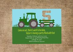 Tractor Birthday Invitation-personalized and printable by KMCustomCreations on Etsy https://www.etsy.com/listing/173096127/tractor-birthday-invitation-personalized