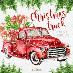 watercolor christmas truck vintage red pickup pine tree retro car hand painted clipart snow santa new year decoration greeting card - Red Truck Christmas Decor