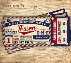 Baseball birthday invitation  Baseball ticket by 2birdstudios