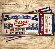 Baseball birthday invitation  Baseball ticket by 2birdstudios