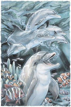 Bergsma Gallery Press::Paintings::Sea Life::Dolphins::Peace, Love & Laughter - Prints