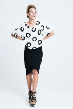 sara bailes x printed float top x sweat wrap skirt