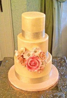 Gold and Glamorous Wedding Cake - Sugarland - Because Life is Sweet Glamorous Wedding Cakes, Fondant Wedding Cakes, Blush Flowers, Chapel Hill, Gold Wedding, Getting Married, Glamour, Engagement, Weddings