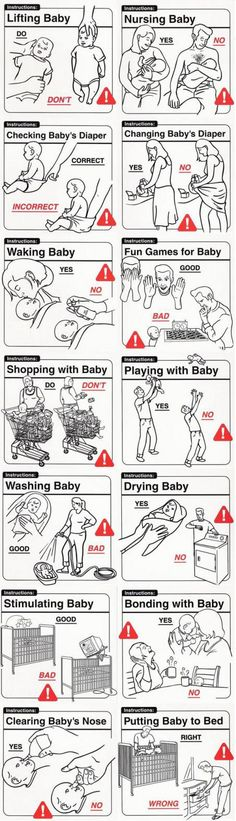 """Le vignette di David e Kelly Sopp: """"Safe Baby Handling Tips"""" Funny Baby Gifts, Diy Baby Gifts, Funny Babies, Adorable Babies, Baby Handling, Funny Memes, Hilarious, Baby Hacks, Baby Tips"""