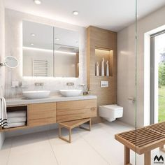 white tile in guest bathrooms upstairs H- white sinks sunk in to counter. BE… white tile in guest bathrooms upstairs H- white sinks sunk in to counter. Wood Bathroom, White Bathroom, Modern Bathroom, Master Bathroom, Bathroom Cabinets, Bathroom Storage, Bathroom Ideas, Bathroom Spa, Cabinet Storage