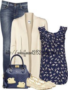 """""""Blue and Beige"""" by mhuffman1282 ❤ liked on Polyvore"""