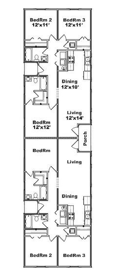 Simple small house floor plans duplex plan j891d floor for Duplex floor plans for narrow lots