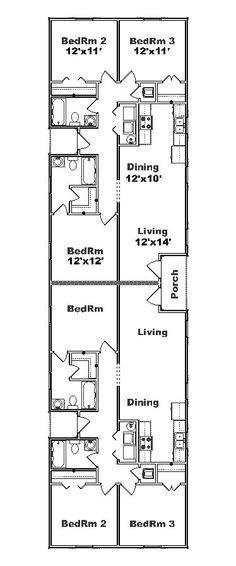 Triplex house plans 1 387 s f ea unit 3 beds 2 ba for Narrow duplex plans