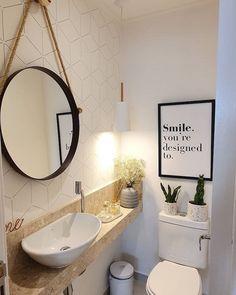 Decor, Office Bathroom, Cozy Office, Small Toilet, Small Bathroom Decor, Round Mirror Bathroom, Small Bathroom, Bathroom Decor, Love Home