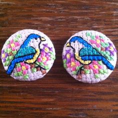 Blue Bird and Flowers Cross Stitch Earrings  £18.00