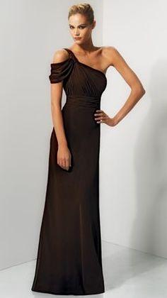 One Shoulder Long Chiffon Bari Jay Bridesmaid Dress 644