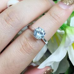 🎄 CHRISTMAS SALE ALL ITEM 10% OFF 🎄 >>> ♥ This stunning ring has a center stone that is 7mm Round Aquamarine. Color of stone is natural Aquamarine and set on a solid 14k White Gold. Design of this ring is very simple yet classy and elegant and most importantly, it is very