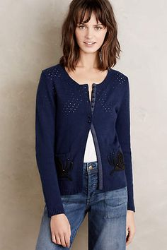 Stitched Snail Cardigan - anthropologie.com without the flowers - perfect!