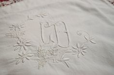 French monogrammed pillowcase in pure white by LaBourgognedeNath