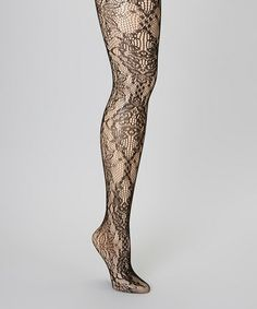 Black Floral Lace Tights $7.99