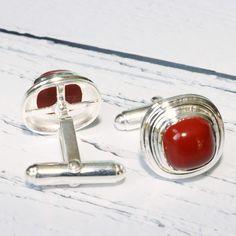 Red Jasper Cufflinks | Sterling Silver