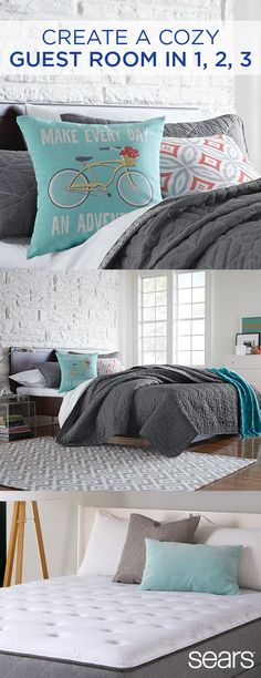 Stock up on the bedding essentials! Whether you're moving into a new home or updating your look, welcome friends and family with a cozy guest room. Give your guests sweet dreams with the Beautyrest Recharge pillow top mattress, designed with layers of memory foam. Effortlessly coordinate your blankets and sheets with a Colormate bedding set. Personalize it with mix-and-match toss pillows and a soft throw. Discover more at Sears online and in store to make your guests feel right at home.