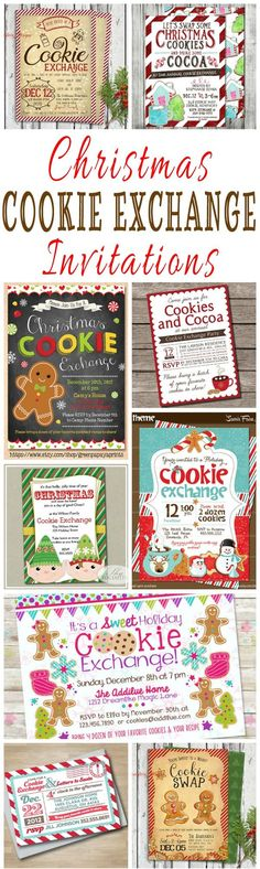 25 DIY Printable Christmas Cookie Exchange Party Invitations