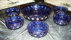 Kings #500 Cobalt Blue 6 pc Berry Set, circa 1891 #KingGlassUSGlass