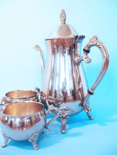 Tea set Silver plated coffee service footed by RoseArborVintage