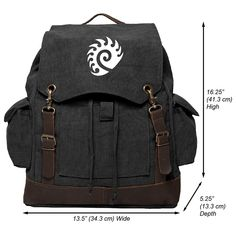Starcraft Zerg Vintage Canvas Rucksack Backpack with Leather Straps *** Unbelievable  item right here! : Day backpacks